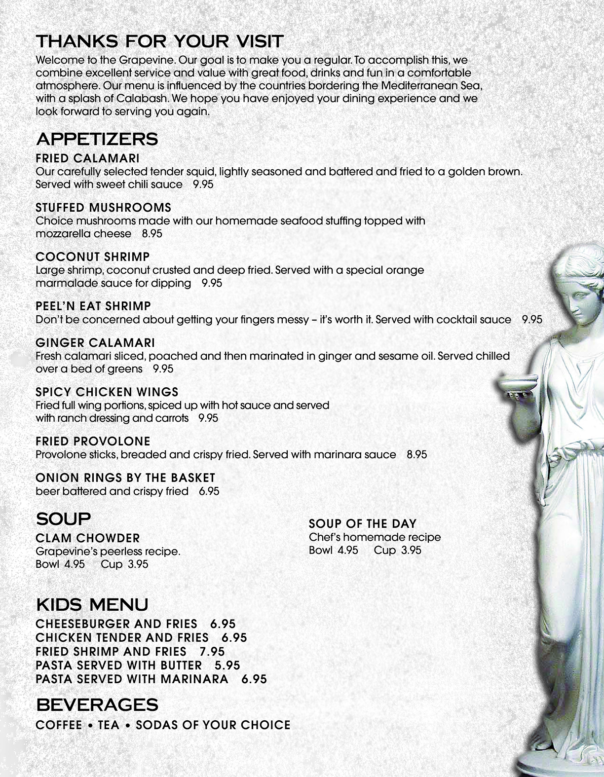 Grapevine Restaurant Calabash NC Appetizer Menu
